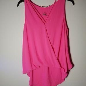 New Lush Criss Cross Front Pink Wrap Tank Blouse